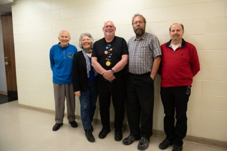 Recipients of the RASC Fellow award. L-R: Roy Bishop, (Judy Black President), Dave Chapman, Pat Kelly, Dave Lane. Missing: Mary Lou Whitehorne.