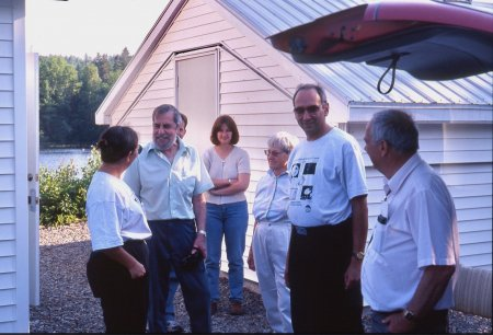 1997 July 1 - 10 days after the official opening of SCO. Left-to right: Wendee Levy, Clint Shannon, Paul Gray, Susan Gray, Carolyn Shoemaker, David Levy, Eugene Shoemaker (Roy Bishop)