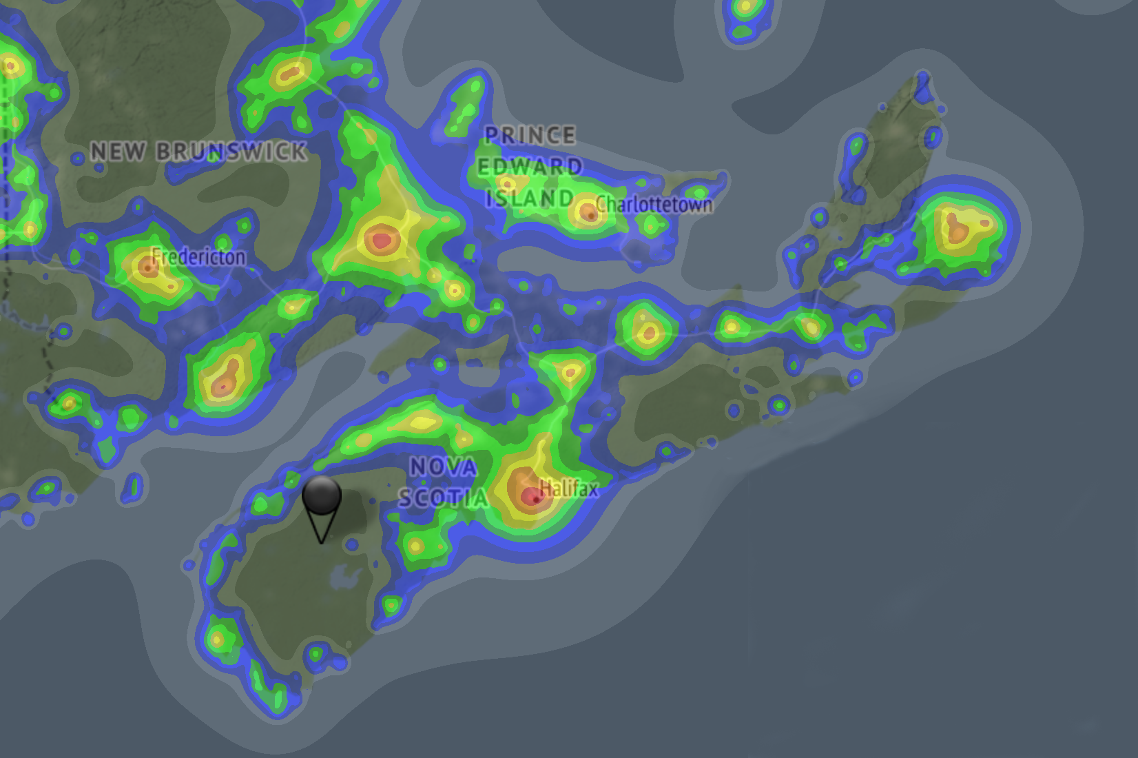 Light Pollution Map for Nova Scotia